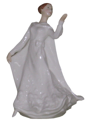 A figure in a flowing dress known as Wisdom, available through the Doulton Lady