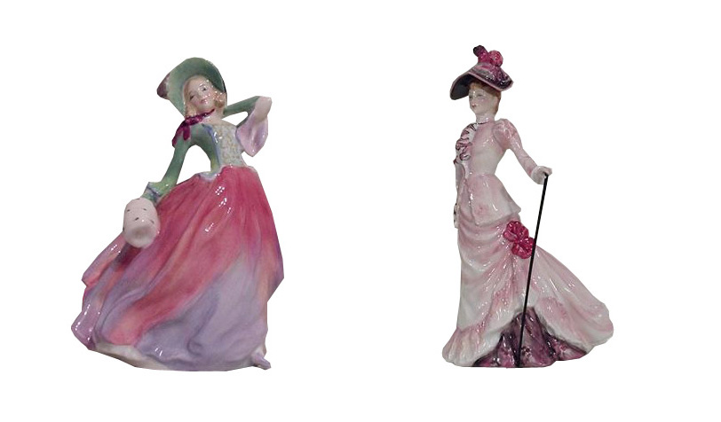 Royal Doulton Ascot British Sporting Heritage And Autum Breezes Green And Pink Figurines